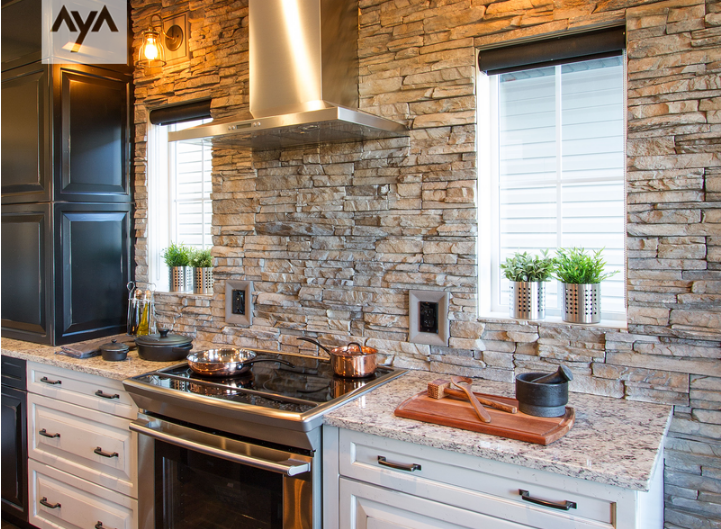 classic kitchen rock backsplash innovative kitchens by design sudbury